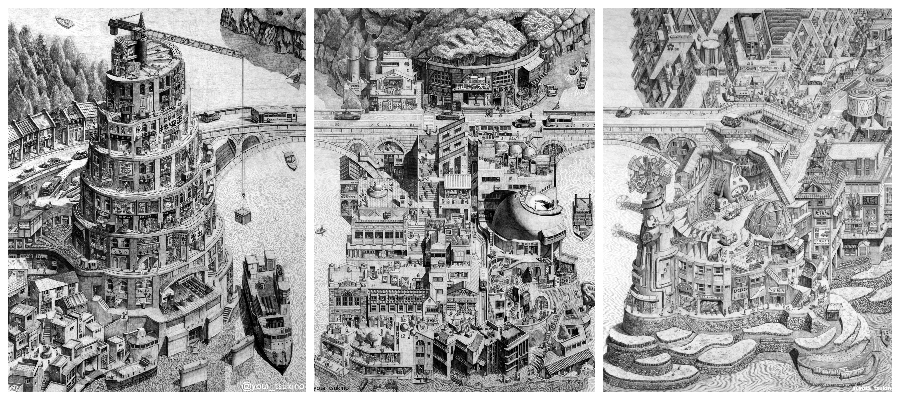 Dense Pencil Drawings of Retro-Future Worlds by Yota Tsukino