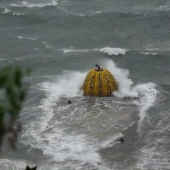 Yayoi Kusama's Yellow Pumpkin, Symbol of Naoshima, Washed Away by Storm